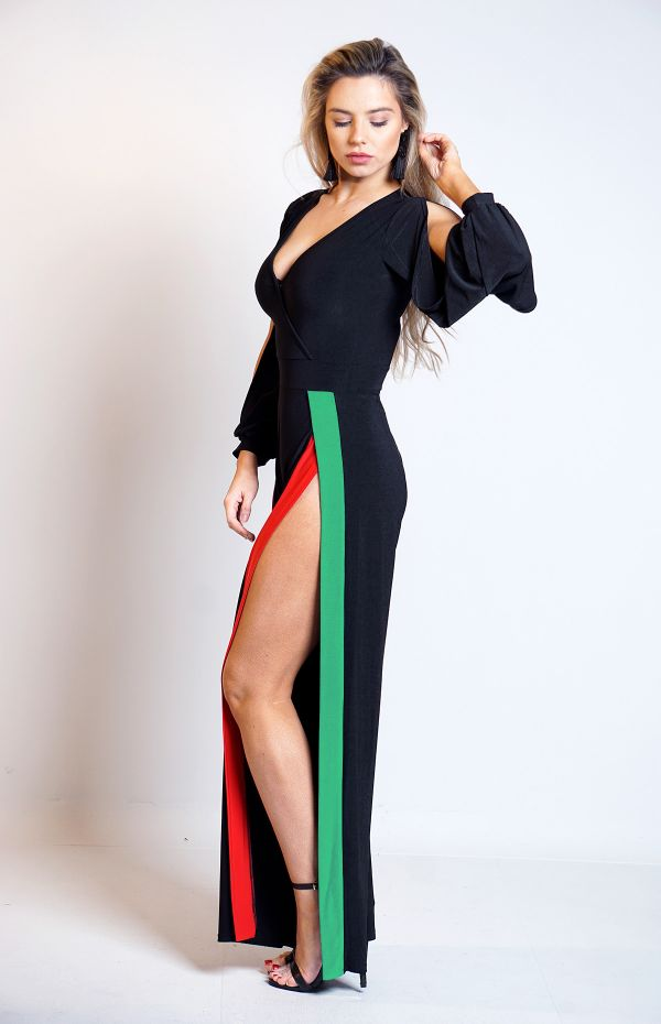 Aicha Contrast Long Sleeves Slit Jumpsuit